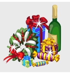 Christmas set wreath gifts and champagne vector image vector image