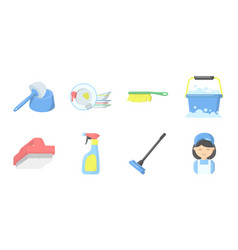 Cleaning and maid icons in set collection for vector