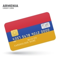 Credit card with armenia flag background for bank vector