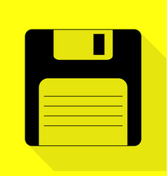 Floppy disk sign black icon with flat style vector