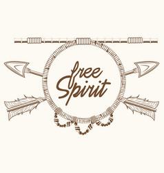 Free spirit arrows rustic emblem boho vector