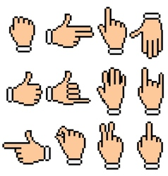 Hand Signs Pixel Pictograms vector image vector image