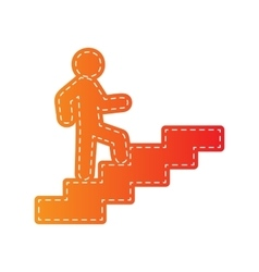 Man on stairs going up orange applique isolated vector