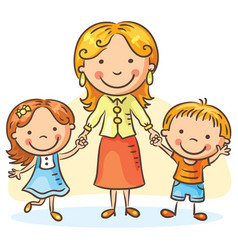 mother with two children vector image