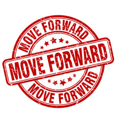 Move forward red grunge stamp vector