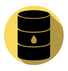 Oil barrel sign flat black icon with flat vector