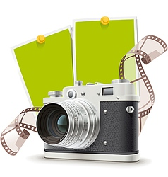Old photo camera collage vector image vector image