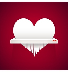 Paper heart is cut into shredder vector