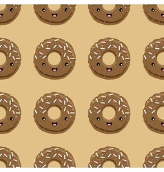 Seamless pattern with chocolate glazed donuts vector