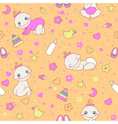Seamless pattern with cute newborn girls vector image