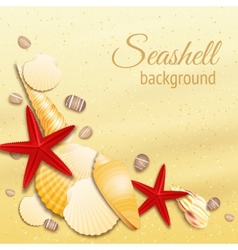 Seashell sand background poster vector image vector image