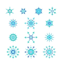 set blue snowflakes vector image