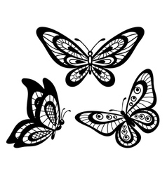 Set of beautiful black and white lace butterflies vector