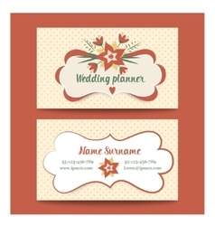Template business cards for wedding planner or vector