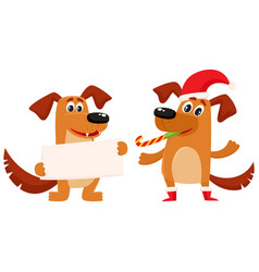 Two dog characters christmas greeting vector