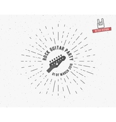 Vintage guitar label with sunburst vector