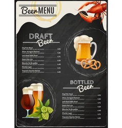 Beer chalkboard menu vector