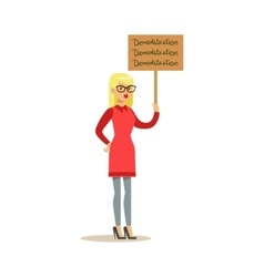 Blond woman in red dress marching in protest with vector
