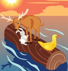 floating animal log vector image
