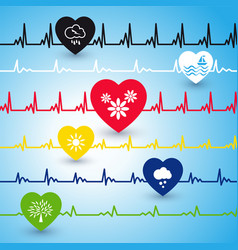 Several heartbeat lines vector