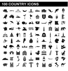 100 country icons set simple style vector
