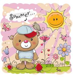 Cute cartoon teddy bear on the meadow vector