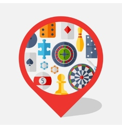 Navigation marker with game icons in flat design vector