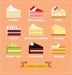 Flat design of cake menu vector