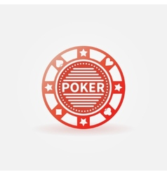 Poker chip red icon vector