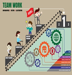 Teamwork to successful business template vector