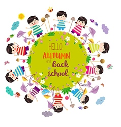 Happy autumn and back to school bright background vector