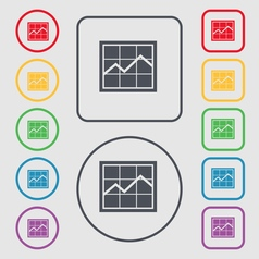 Chart icon sign symbol on the round and square vector