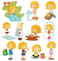 Daily routine of a girl vector