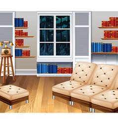 Studyroom with sofa and books vector