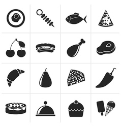 Black different kind of food icons vector