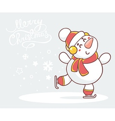 Skating white snowman with red scarf on g vector