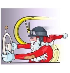 Santa Claus driving an old car Christmas greeting vector image