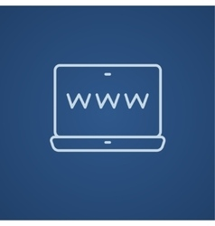 Website on laptop screen line icon vector