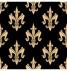 Golden fleur-de-lis seamless pattern over black vector