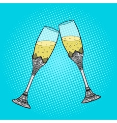Wedding glasses of champagne pop art style vector