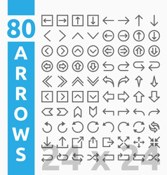 Arrow outline icons for user interface and web vector