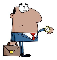 African American Office Worker Watching The Clock vector image vector image