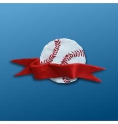 Baseball Ball with red ribbon vector image vector image