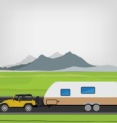 Car with trailer vector
