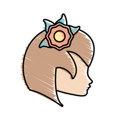 Cute profile woman avatar flower vector