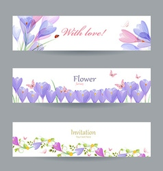 Fashion collection invitation cards with crocus vector image vector image
