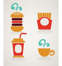 fast food icons in info graphic style vector image