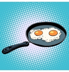 Frying pan with fried eggs finished dish vector