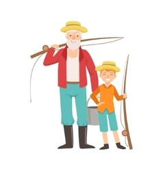 Grandfather And Grandson Going Fishing Part Of vector image vector image