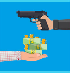 hand of thief holding pistol and hand with money vector image